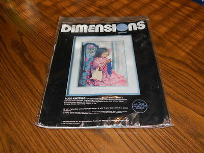"Dimensions Crewel Alice Knitting kit #1312 16x20"" New-sealed"