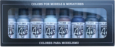 Metallic Color Set: 8 Airbrush Paints for Model & Hobby (Vallejo 71176)