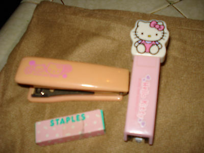 Sanrio Hello Kitty Staplers 2 staplers and a box of staples