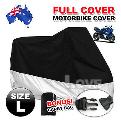 L Large Waterproof Outdoor Motorcycle Motorbike Cruiser Scooter Motor Bike Cover