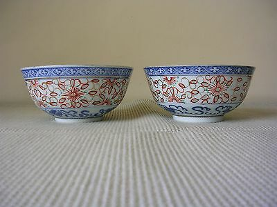 A Pair of Mid 20th Century Chinese Blue and White Bowls