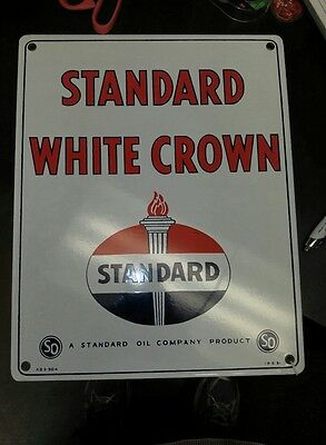"Standard Oil Porcelain Gas Pump Sign ""Standard White Crown"" Dated 1951"