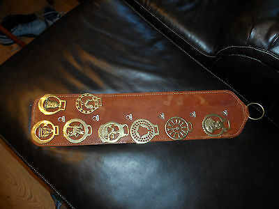 VTG LOT OF 8 Brass Horse Bridle/Saddle Medallions-
