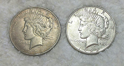 1926-D and 1928-S Silver Dollars -  free shipping