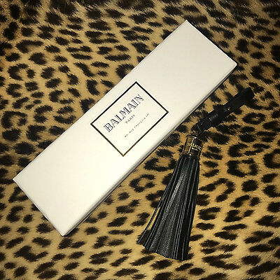 RARE, NEW and exclusive ! BALMAIN leather tassel KEY RING Show Invitation 2017