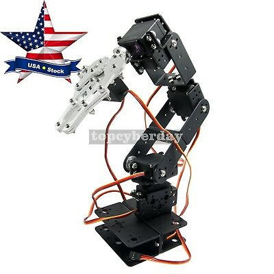 Robot 6 DOF Arm Mechanical Robotic Arm Clamp Claw Mount Kit for Arduino USA Ship