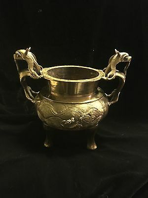 Vintage Chinese Brass Censer. Dragon Handles and Dragons on sides.