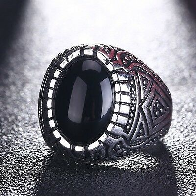 Round Silver Gothic Natural Black Onyx Stone Stainless Steel 316L Women Men Ring