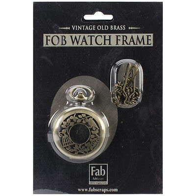 Old Brass No Mechanism FOB Watch W/Chain Embellishment Large ME301