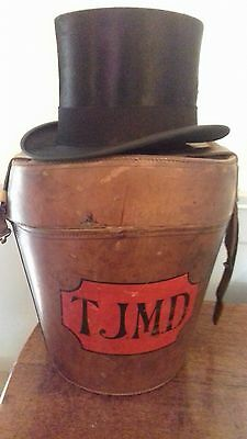 Large vintage leather double hat box and silk extra  best quality top hat