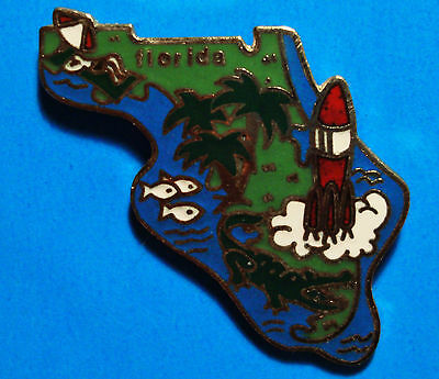Florida - State Shape  Cape Canaveral - Alligator - Palm Tree - Vintage Pin