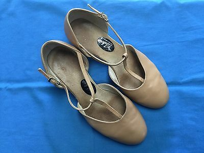 Salvios Tan Leather T-Bar Character Dance Shoes - Size 7 (Adult)