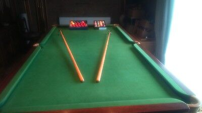 Snooker / Billiard 3/4 Table with two piece slate bed aand accessories.