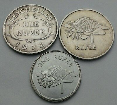 Seychelle 1 Rupee  1972,1977,2010PM. KM#13/35/50.2. One Dollar coin. 3 coins set