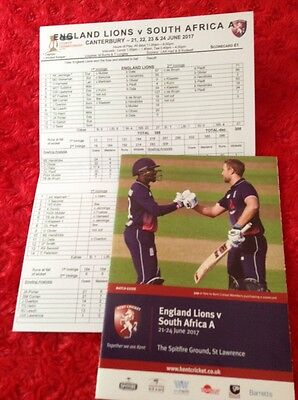 ENGLAND LIONS v SOUTH AFRICA A 2017 MATCH GUIDE + DAY 4 SCORECARD AT KENT