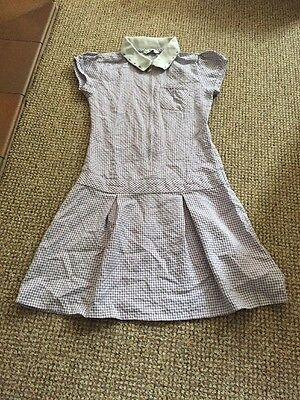 girls purple gingham school summer dress Age 8-9