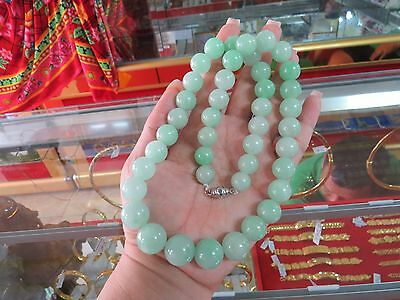 Vintage Translucent Natural Apple Green Jadeite Jade Necklace 20'' Length