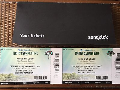 2 Tickets For kings Of Leon Concert At Hyde Park, 6th July (45£ Each)