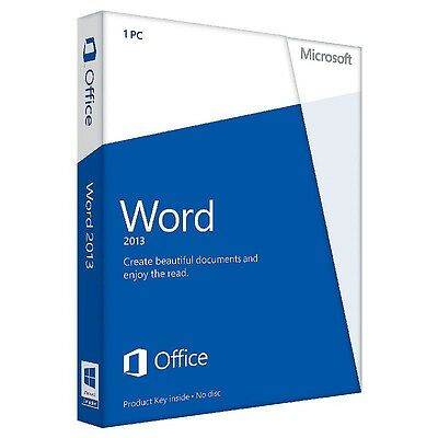Microsoft Word 2013 Product Key Card (Retail) (1 User/s) - Full Version