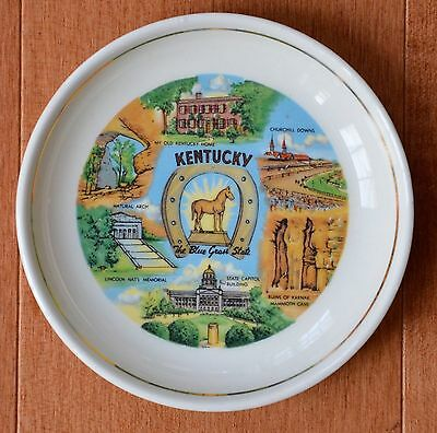 Vintage Kentucky EBRINK Blue Grass State Collector Ashtray Plate Dish USA Stamp