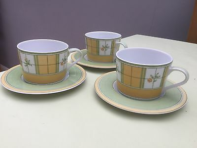 Set Of 3 Marks & Spencer Home Yellow Rose Cups & Saucers