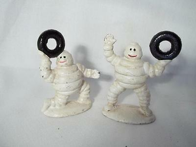 Small Pair Cast Iron Michelin Man Bibendum Tires Figurines Advertising Standing