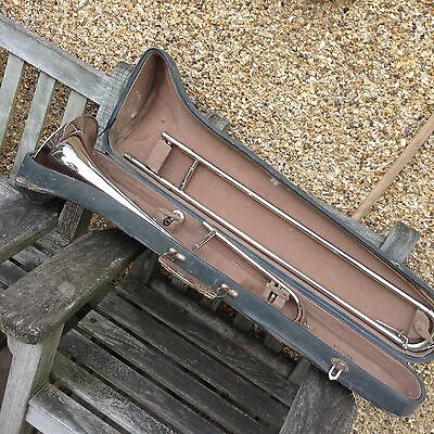 Vintage Silver Plated Trombone Good Condition