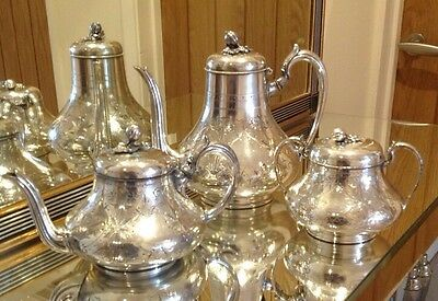 Antique Shaw & Fisher 3 Piece Silver Plated Tea Service With Figural Finials