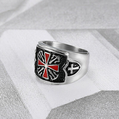 Masonic Red Cross Knight Templar Celtic Shield Stainless Silver Men Sz 7-13 Ring
