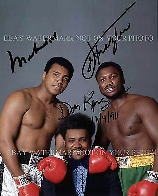 Muhammad Ali Don King And Joe Frazier Autographed 8X10 Rpnt Photo Boxing Legends