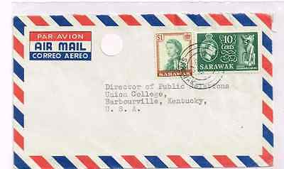 Sarawak 1962 cover to US+bi-color franking 10C+1$ QEII+Sibu to Brabourville KY