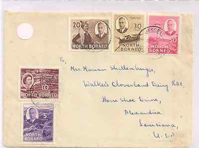 North Borneo mixed franking cover to US+ both KGVI & QEII issues+5-color frank