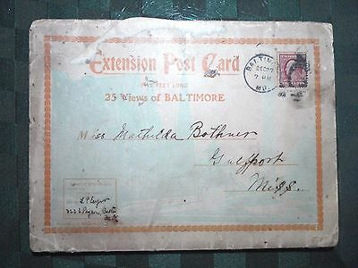 Extension Post Card Postcard 25 Views Of Baltimore Maryland Usps Stamped 1908