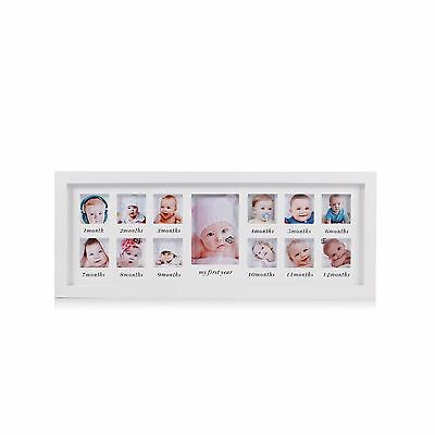 Feibi My First Year Baby Photo Frame Baby Keepsake Frame Wood Kids Picture Fr...