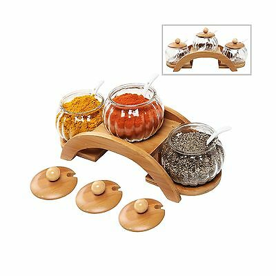 (Set of 3) Clear Glass Condiment Spice Jars Ceramic Serving Spoons & 2 Tier W...