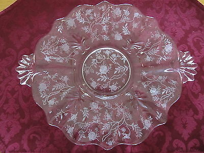 Fostoria Chintz Etched Glass Cake Plate with Handles, MINT
