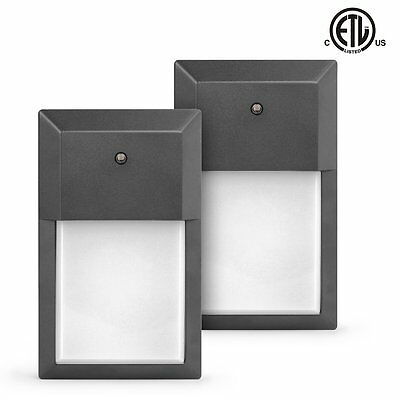 12W (100-150W Replacement), 5000K Daylight White, LED Wall Pack Light, 2-Pack