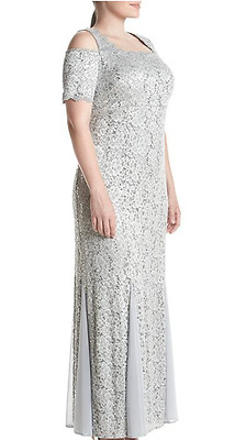 Women's Formal Plus Dresses Size 16W Fits Sizes 16-18 Mother of Bride in Silver