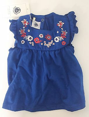 PETIT BATEAU Blue Embroidered Top Age 6 Months NEW
