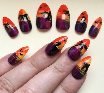 Hand Painted False Nails Square (Or ANY SHAPE). Summer beach sunset HOLIDAY