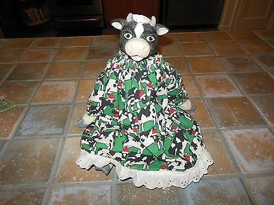 """COW DOLL COLLECTIBLE VINTAGE FOLK ART COUNTRY Unique Sitting Cow Doll 14"""""""