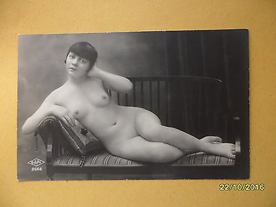 Original French 1910's-1920's Nude Risque Postcard Sexy Lady Laying On Sofa #82