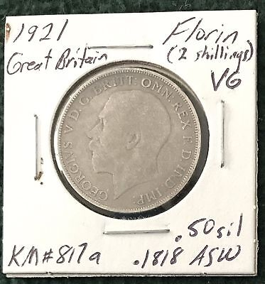 3 different UK silver coins; 1921 Florin; 1939 Shilling & 1922 Sixpence