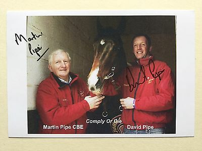 "horse racing David Pipe And Martin Pipe signed 6"" x 4"" photo card"