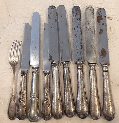 Antique French Silverplate Grand Hotel Silver Flatware Knives Utensils France