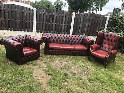 Vintage Chesterfield Ox Blood Three Piece Suite sofa