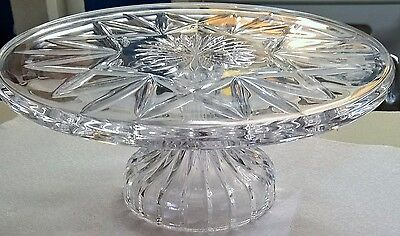 """Large Waterford 8"""" Cake Plate Cut Glass"""