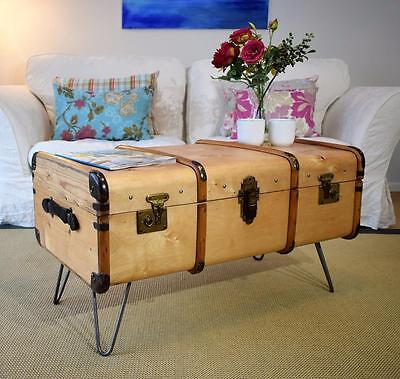 Vintage Steamer Trunk Bentwood Travel Chest COFFEE TABLE Blanket Box Upcycled