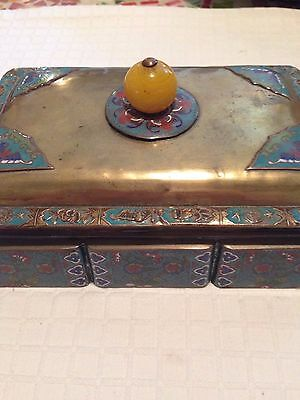 Antique/vintage Chinese Cloisonne On Brass Box. 7'' X 4 6/8''