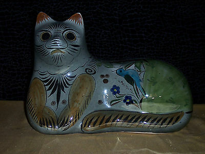 Vintage Ceramic Cat Figurine Hand Painted Made in Mexico signed